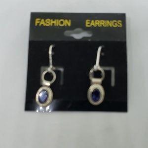 Deep blue stones in oval bezels earrings